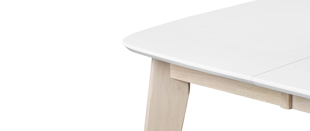 LEENA Scandinavian extendable square dining table in white and wood L90-130
