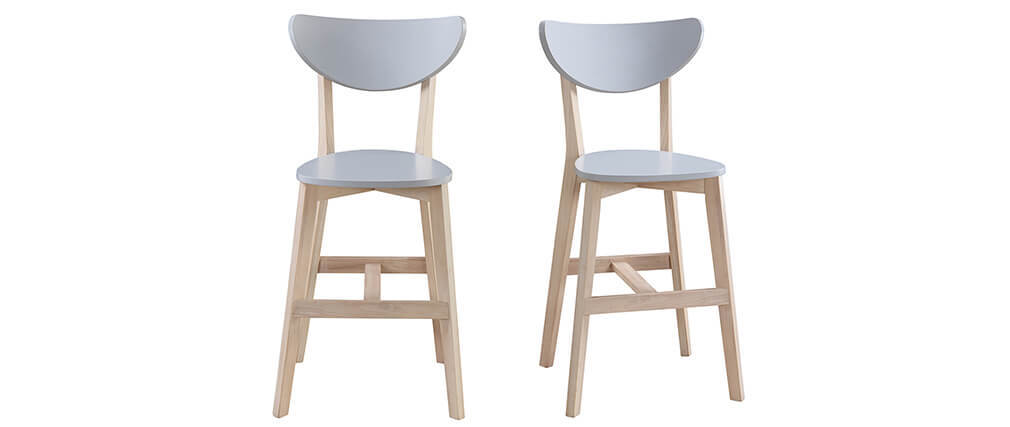 LEENA set of 2 Scandinavian wooden and grey bar stools 65cm