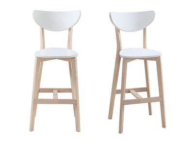 LEENA set of 2 Scandinavian wooden and white bar stools 65cm