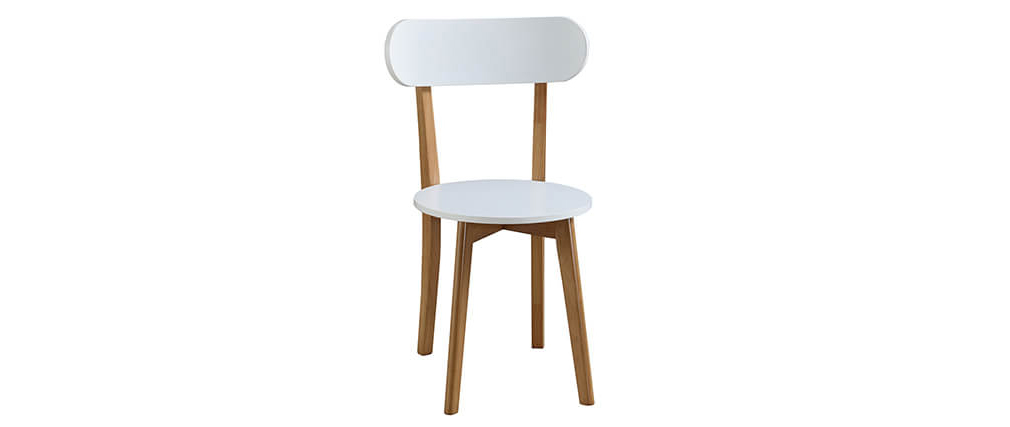 LEENA set of 4 chairs and table in white and wood