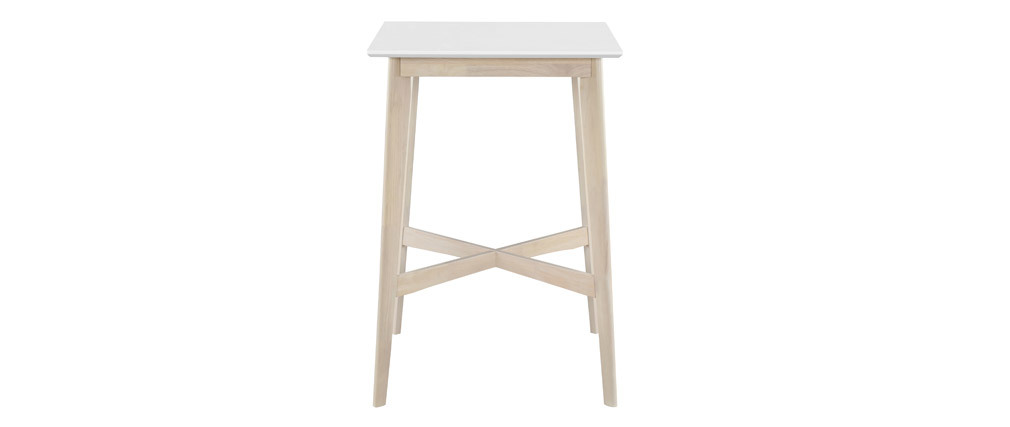 LEENA square standing table in white and light wood