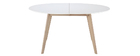 LEENA white and light wood extendable oval table L150-200