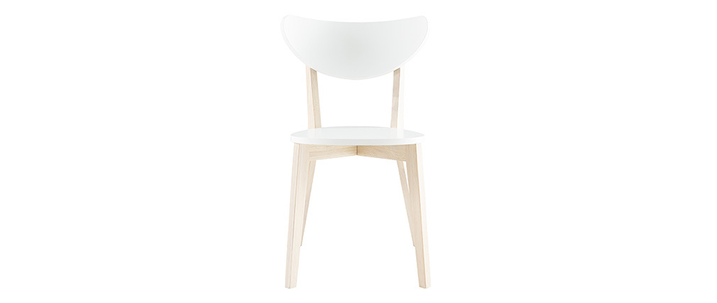 LEENA White and Wood Modern Chair (set of 2)
