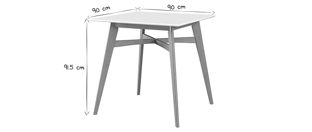 LEENA white and wood square bar table
