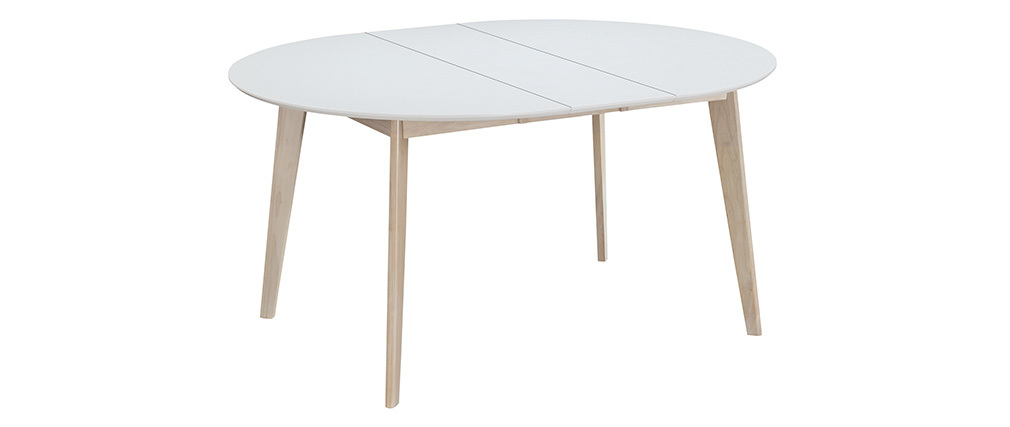 LEENA white and wooden round designer extending table L120-150