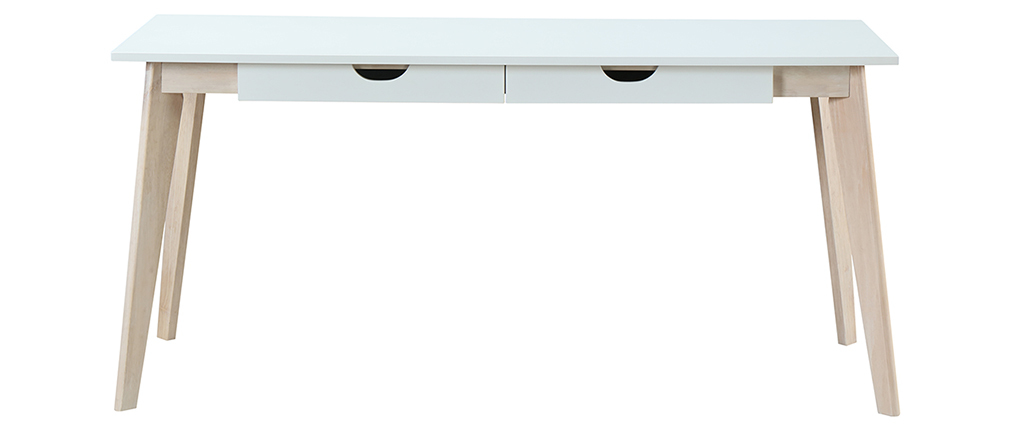 LEENA white wooden Scandinavian desk with drawers L160