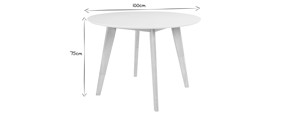 LEENA Wood and White Modern Table D100