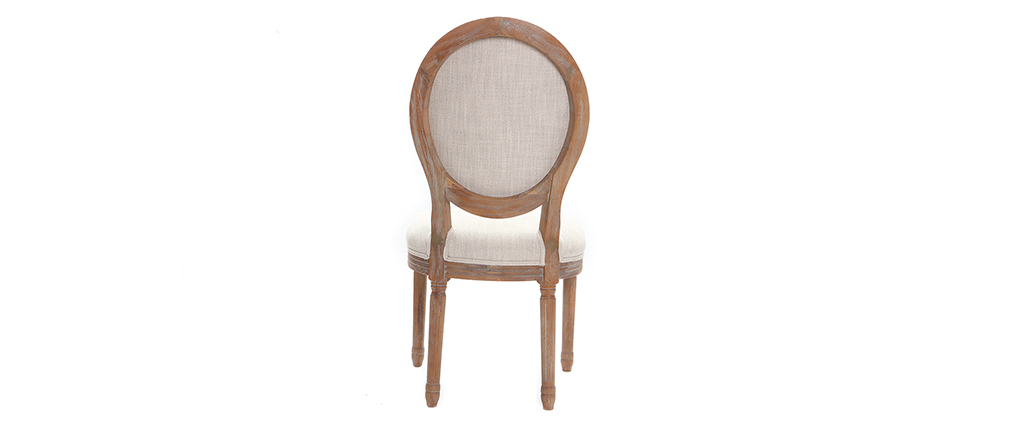 LEGEND set of 2 medallion chairs in cream fabric with light wooden legs
