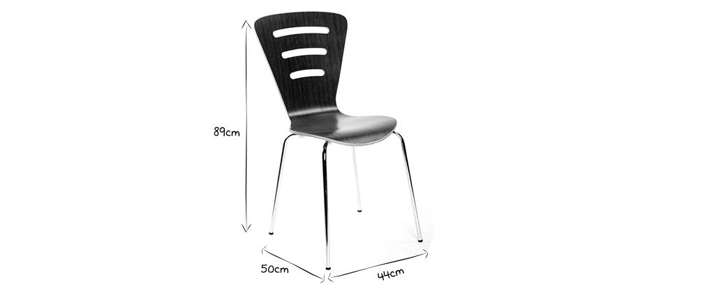 LENA Black Modern Wood Stackable Chairs (set of 2)