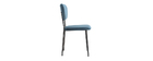 LEPIDUS set of 2 designer blue velvet and black metal frame chairs