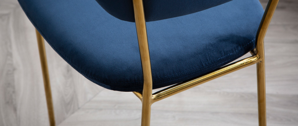 LEPIDUS set of 2 designer blue velvet and gold metal frame chairs