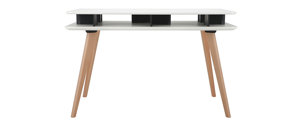 LEVY Scandinavian white and black desk with wooden legs and storage