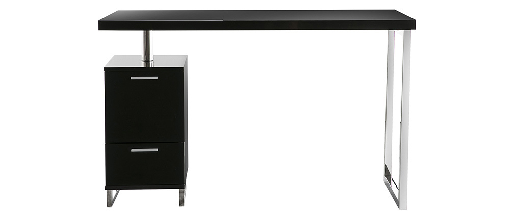 LEXI Glossy Black Modern 2 Drawer Desk