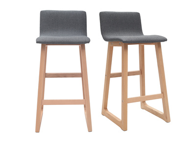 Light Wood Bar Stools 65 cm - Grey Fabric - OSAKA (set of 2)