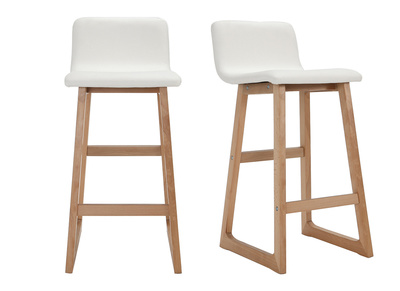 Light Wood Bar Stools 65 cm -White PU - OSAKA (set of 2)