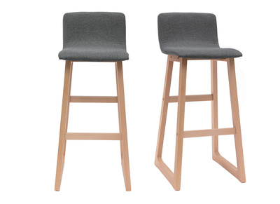 Light Wood Bar Stools 72 cm - Grey Fabric - OSAKA (set of 2)