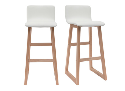 Light Wood Bar Stools 72 cm - White PU - OSAKA (set of 2)