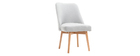LIV Scandinavian armchair grey fabric light wooden leg
