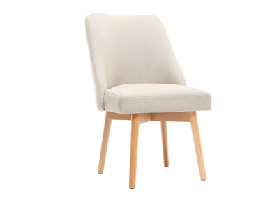 LIV Scandinavian chair cream fabric light wooden leg