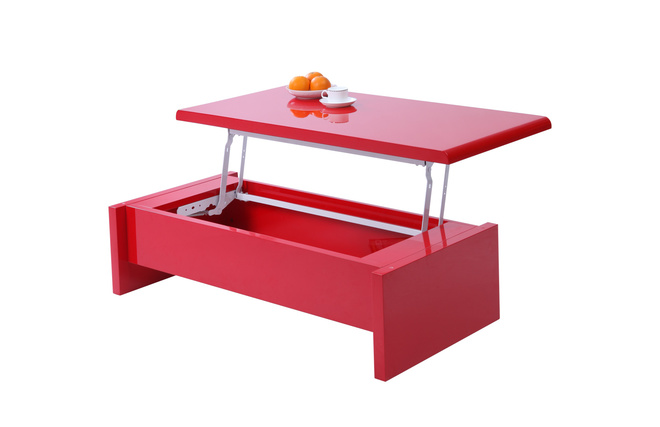 Tables Coffee Tables LOLA Modern And Adjustable Red Coffee