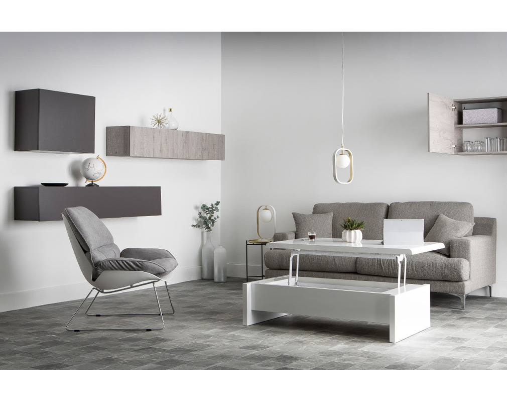 Lola White Modern Lift Top Coffee Table With Storage Miliboo