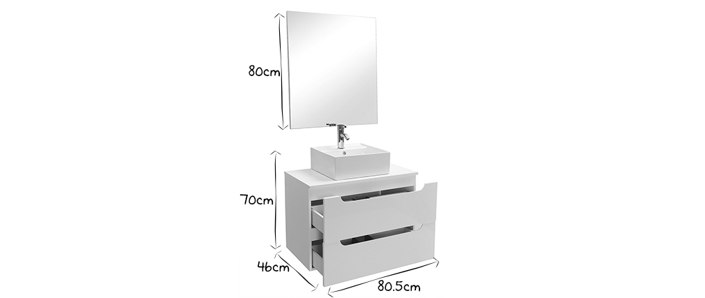 LOTA white bathroom unit with basin, mirror and storage