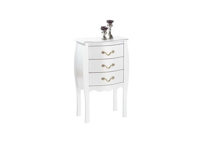 LOUISA White Baroque 3 Drawer Chest/Bedside Table