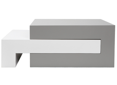 LUNA designer extending matte grey and white coffee table