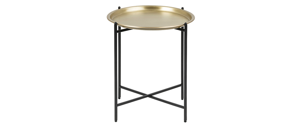 LUZ round metal and gold side table