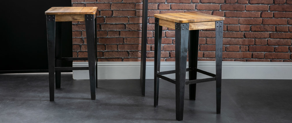 MADISON 65cm industrial wood and metal stool
