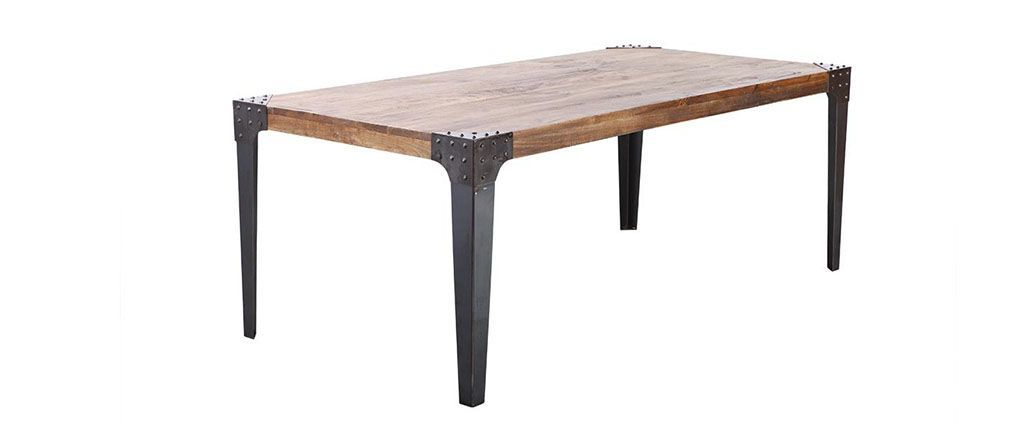 MADISON Wood and Metal Industrial Dining Table
