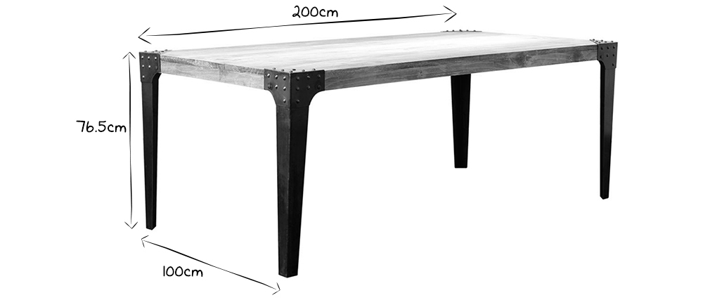 MADISON Wood and Metal Industrial Dining Table L200