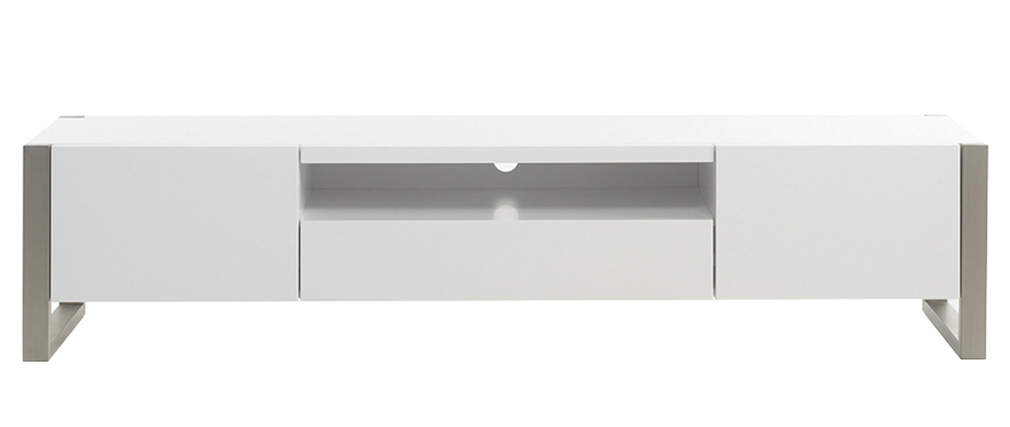 MAGNA designer white lacquered and metal TV stand with storage