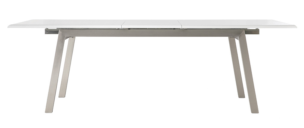 MARNY white and metal extending designer dining table L190-240