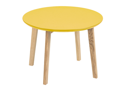 Matt Mustard Yellow Modern Round Coffee Table SARA 50cm