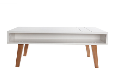 Matt White and Wood Modern Coffee Table ADORNA