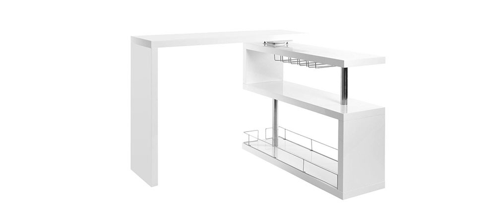 MAX Glossy White Modern Swivel Bar