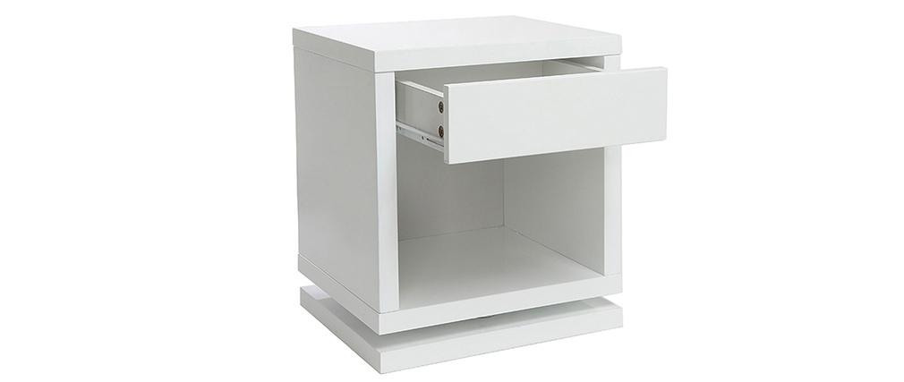 MAX Glossy White Modern Swivel Bedside Table
