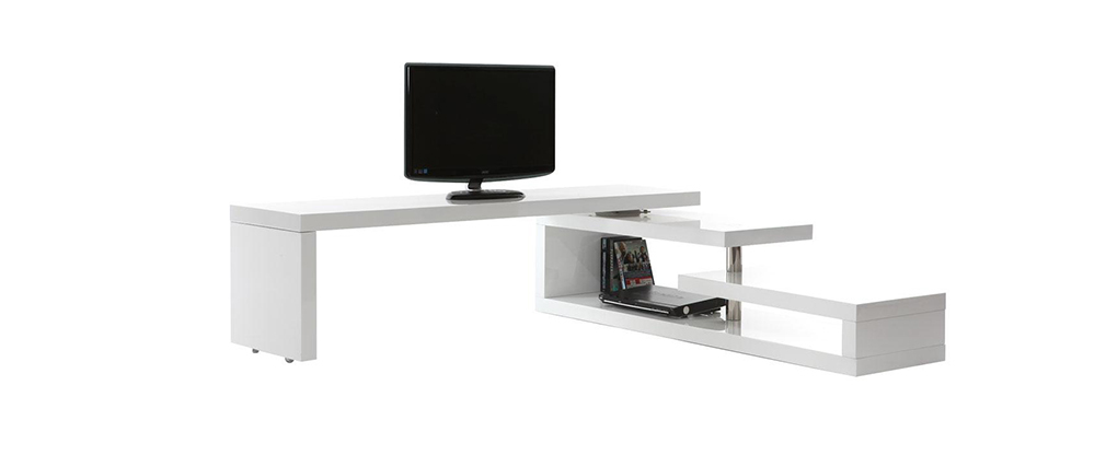 MAX V2 Glossy White Modern Swivel TV Stand