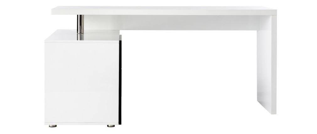 MAXI black and white lacquered designer desk with storage on the left