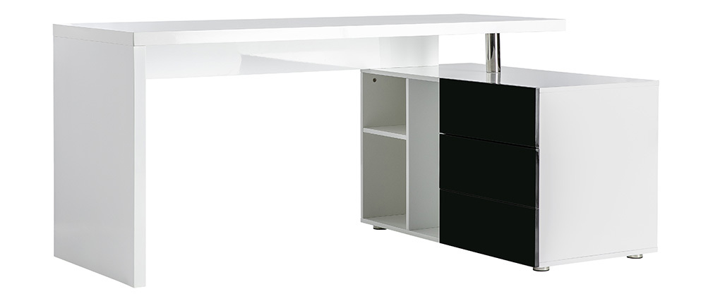 MAXI Glossy White and Black Modern Desk