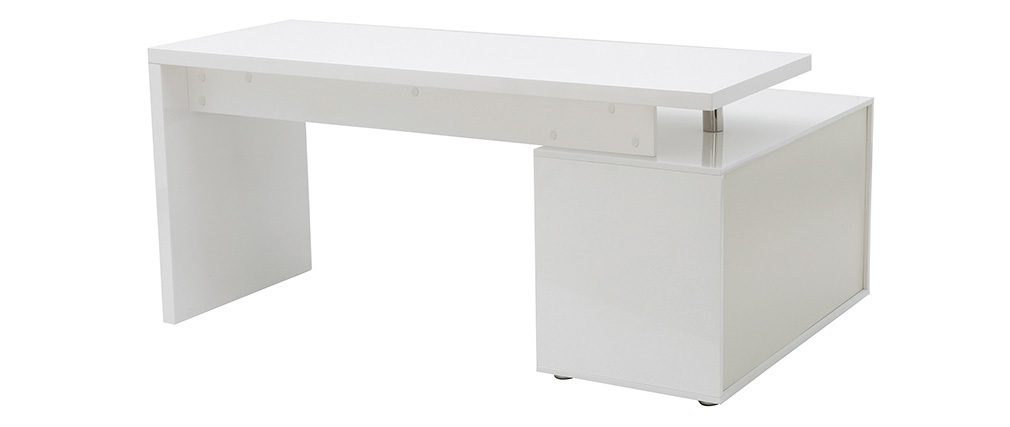 MAXI white lacquered designer desk with storage on the left