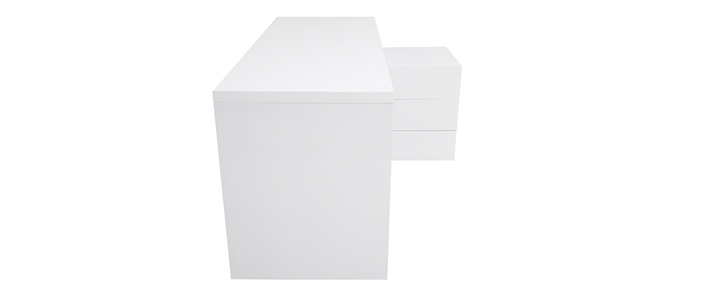 MAXI white lacquered designer desk with storage on the right