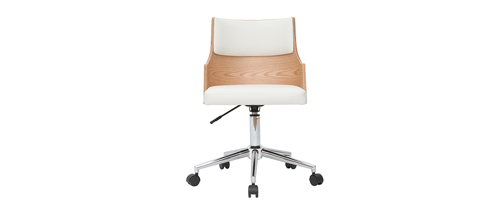 MAYOL designer white and light wooden office chair with built-in cushion