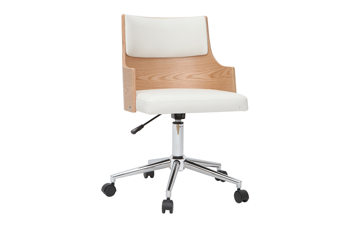 Mayol Designer White And Light Wooden Office Chair With Built In Cushion Miliboo