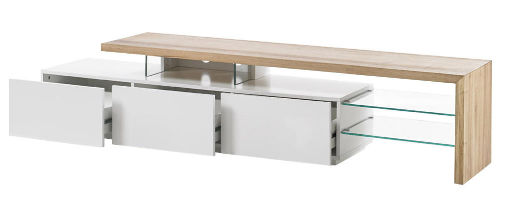 MEDIA designer TV stand in white lacquer and oak 204cm
