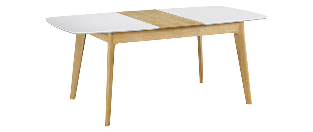 MEENA Scandinavian extendable table in white and wood L140-180