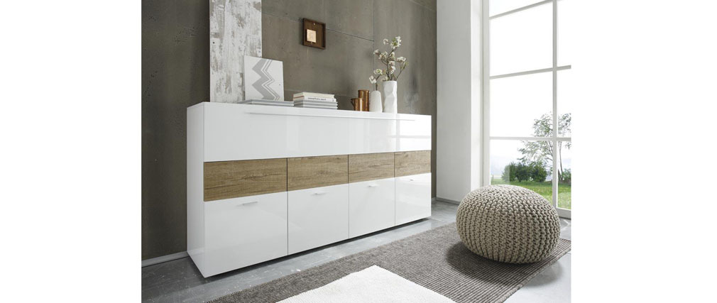 MELINA Glossy White and Taupe Grey Modern Sideboard