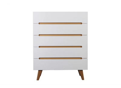 MELKA Scandinavian Style Glossy White and Ash 5 Drawer Chest