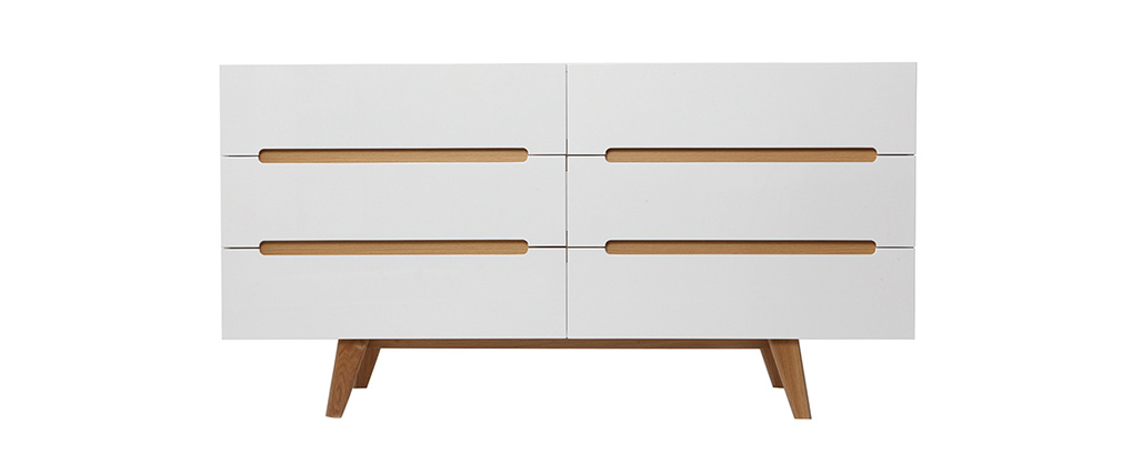MELKA Scandinavian Style Glossy White and Ash 6 Drawer Chest